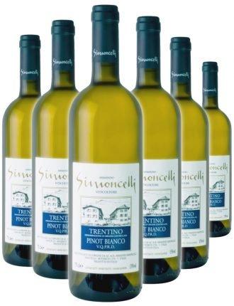 Trentino Pinot Bianco D.O.C. • Simoncelli • 6 bottiglie • SPEDIZIONE GRATUITA