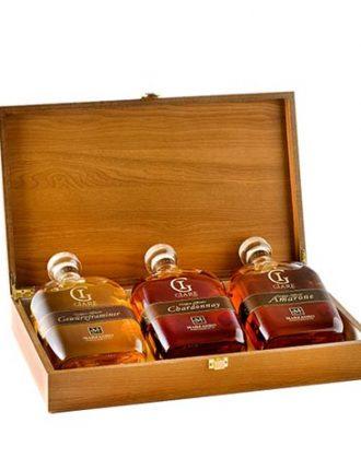 Collezione Grappe invecchiate 3 anni in cofanetto legno • Giare Chardonnay, Amarone, Gewurztraminer • Marzadro • 3x20cl • SPEDIZIONE GRATUITA