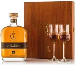 Grappa Giare Amarone in cofanetto legno con due bicchieri tulipano • Marzadro • 70cl • SPEDIZIONE GRATUITA