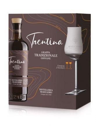 Grappa Morbida Barrique La Trentina • Gift Box con due bicchieri tulipano • Marzadro • 50cl • SPEDIZIONE GRATUITA