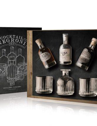Set Cocktail Negroni Marzadro • Amaro Marzadro, Luz Gin, Vermut Altolago + bottiglia e 2 bicchieri • 3x20cl • SPEDIZIONE GRATUITA