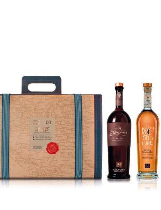 Confezione Viaggio n.03: 1 bt. La Trentina Barrique + 1 bt. Le Diciotto Lune + invito per due persone in distilleria per degustazione speciale • Marzadro • 2x50cl • SPEDIZIONE GRATUITA